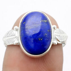 Leaf - Natural Lapis - Afghanistan 925 Sterling Silver Ring S.8 Jewelry E961