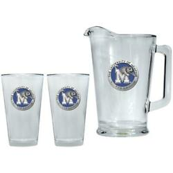 University Of Memphis Tigers Pitcher And 2 Pint Glass Set Beer Set