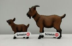 New Schleich Brown Nanny Goat 13828 And Kid 13829