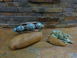 40and039s Huge Rare Navajo 5 Kingman Gem Turquoise Row Cuff Sterling Old Pawn Harvey