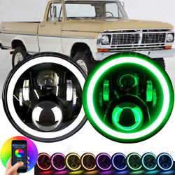Pair 7and039and039 Led Rgb Headlight Drl Halo Angel Eye Headlamps For 1969-1979 Ford F-100
