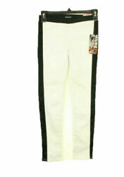 Tractor Girl's Jeans Stretch Pull On White With Black Trim Pants Size 8