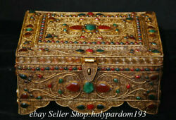 8.4 Old Tibet Copper Filigree Inlay Gems Bird Temple Jewelry Container Box