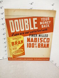 Nabisco 1940s Grocery Store Display Sign 100 Bran Cereal Box Constipation X
