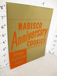 Nabisco 1940s Grocery Store Display Sign 50th Anniversary Cookies English Gold