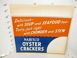Nabisco 1940s Grocery Store Display Sign Oyster Crackers Soup Chowder Stew