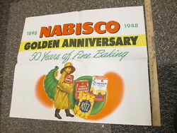 Nabisco 1948 Grocery Store Display Sign Poster 50th Anniv Ritz Graham Crackers
