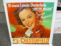 Chesterfield Cigarette 1948 Movie Poster Store Sign Susan Hayward Tap Roots