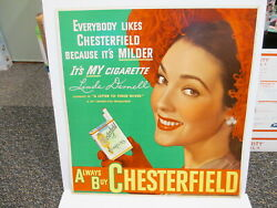 Chesterfield Cigarette 1949 Movie Poster Store Display Sign Linda Darnell Pinup