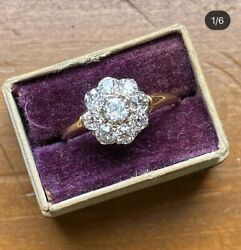 Antique Old Cut Diamond Cluster 14k Gold Ring