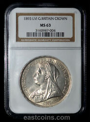Ngc Ms63 1893 Great Britain Queen Victoria Silver Crown