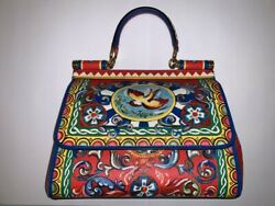 Dolce Gabbana Carretto Sicily Top Handle Crossbody Leather Bag Colorful