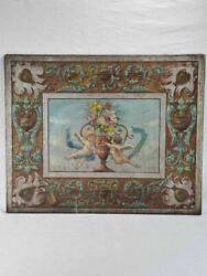 Pretty Antique Painting Of Angels On Canvas 29andfrac14 X 36andfrac12