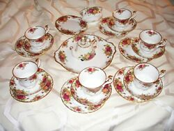22pc. Royal Albert Old Country Roses 6 Footed Cups Saucers Tea Trios Teapot Tray