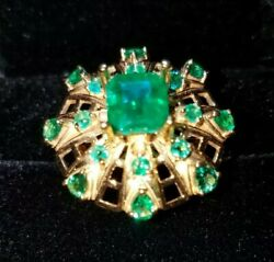 L@@k 2.7ct Emerald + 18k Yellow Gold Ring Unique Statement Style Size 6 3/4 10g