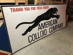 Wow Large Original Vintage American Colloid Leaping Mad Panther Sign Old 10'