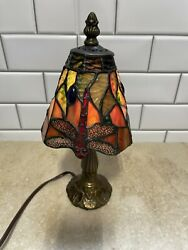 Retro Style Table Lamp Red Stained Glass Dragonfly Antique Vintage 12andrdquo Us