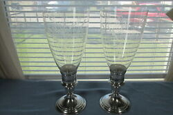 Two Gorham Sterling 661 Candlesticks With Hurricane Inserts Etched Glass Globes