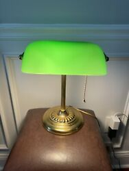 Antique Lighting Bankers Desk Lamp Emerald Green Glass Shade Brass Table Lamp