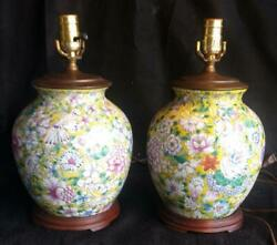 Old Asian Oriental Lamps Pair Of Two 2 Chinese Art Pottery Vases Famille Rose