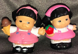 Fisher Price Lot Of Two Chinese Japanese Girl Twins Cute W/icecream Apple Pink