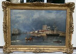 Antique Oil Painting On Board Seascape Boat Ships In Bay Harbor