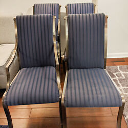 4 Vintage Chairs W/ Steel Frame And Blue Striped Upholstery Pick Up Only