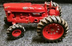 """Vintage Hubley Toys 10"""" Red Farm Cast Metal Tractor W/ Rubber Wheels"""