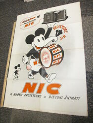 Mickey Mouse 1933 Italy Nic Projector Cartoon Movie Poster Store Display Disney