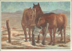 Vintage Christmas Brown Taupe Horses Trio Fench Mail Box Helen Pelton Art Card