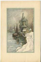 Vintage Christmas Nautical Fishing Boat Pier Windmill Winter Lithograph Art Card