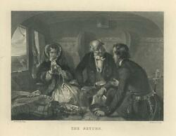 Antique Gorgeous Victorian Girl Sewing On Train Handsome Man Love Art Print