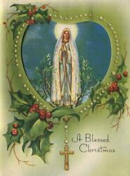 Vintage Faux Rosary Beads Holly Our Lady Of Fatima Sheep Shepherds Greeting Card