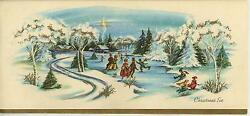 Vintage Christmas Pond Snow Ice Skating 1 Yorkshire Terrier Puppy Dog Tree Card