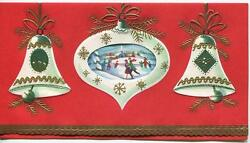Vintage Christmas White Ornaments For Tree Ice Skating Pond Mid Century Art Card