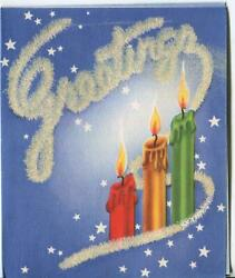 Vintage Christmas Red Gold Green White Stars Candles Flocked Mcm Greeting Card