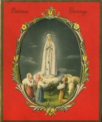 Vintage Christmas Our Lady Of Fatima Children Sheep Shephers Red Gold Litho Card