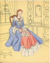 Vintage Colonial Victorian Girl Sewing Embroidery Costume Dress Teapot Art Print