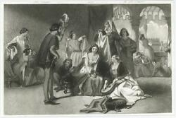 Antique Old English Scene Costume Woman Lute Man Woman Suitor Small Art Print