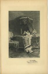 Antique Victorian Girl Woman Reading In Bed Lamp Light Remarque Etching Print