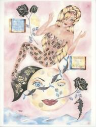 Mermaid Man In The Moon Swiss Cheese Dolphin Black Roses Art Hand Signed Print