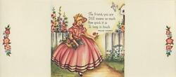 Vintage Victorian Girl Hollyhocks Garden 1 Sewing Buttons Pink Roses Wreath Card