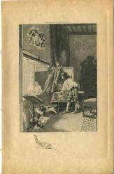 Antique Parlor Man Window Sheet Music Song Book Lute Rococo Architecture Print