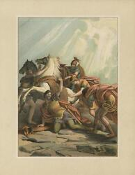 Antique Conversion Of Saul Road To Damascus Horse Light From Heaven Color Print