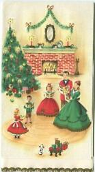 Vintage Christmas Victorian Family Tree Fireplace Dog Mid Century Greeting Card