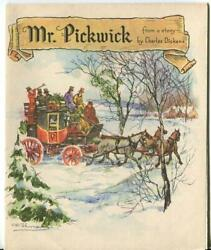 Vintage Christmas Story Pickwick Horse Sleigh Club Mcm Greeting Lithograph Card