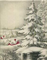 Vintage Christmas Stream Every Green Tree Red Houses Gray White Greeting Card