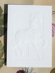 Vintage Muller Military War Horse Carousel Embossed Repousse Note Card Art Print