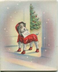 Vintage Christmas Scotty Dog Red Jacket Shoes Boots Tree Snowflake Norcross Card