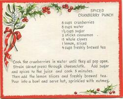 Vintage Christmas Spiced Cranberry Punch Recipe 1 Sheep Snow Sleigh Horse Card